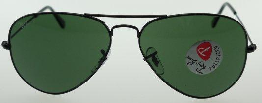 6bb7925fd9 Ray-Ban 3025 002 58 Aviator Black   Polarized Green Sunglasses