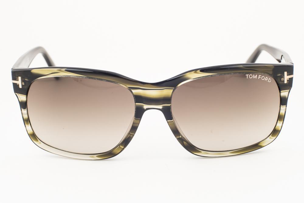 ea14bac764 Tom Ford Barbara Striped Green   Gray Gradient Sunglasses TF376 98K 58mm