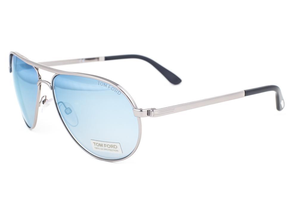 1ae55b2cb1 Tom Ford Marko Matte Silver   Blue Mirrored Sunglasses TF144 14X